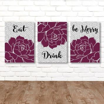 Eat Drink Be Merry, KITCHEN Wall Art, Kitchen CANVAS or Prints Flower Kitchen Decor, Bar Quote Decor, Kitchen Wall Decor, Set of 3 Pictures