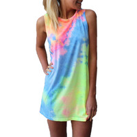 S-6XL Women Summer Dress 2015 Fashion Sleeveless Colorful Rainbow O-neck Casual Mini Nightclub Dress Sundress Plus Size Vestidos