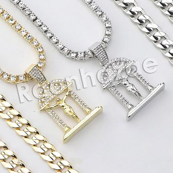 "Iced Out Micro Pave Jesus Cross Pendant w/ 18"" Tennis / 30"" Cuban Chain X3"