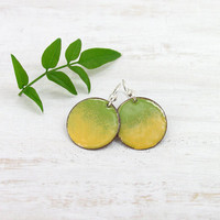 Dangle enamel earrings - chartreuse green and yellow earrings - sterling silver earwire -  artisan jewelry by Alery