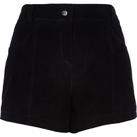 River Island Womens Black suede high waisted shorts