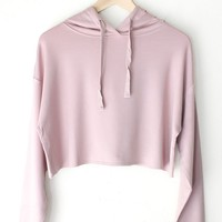 Dusty Pink Cropped Hoodie