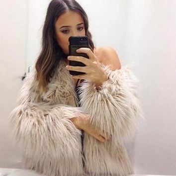 Fur Ladies Long Sleeve Jacket [114361925657]