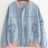 New Style Contrast Trim Zip Up Denim Coat with Pockets