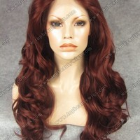 N7-35 Red Wavy Long Kim Kardashian Wig Synthetic Lace Front Wig -lace front wigs african american women