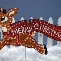 "Rudolph With Banner Yard Art - Banner Proclaims,  "" Merry Christmas! """