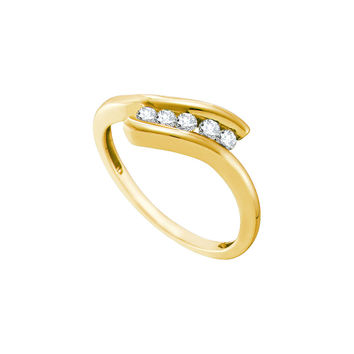 10kt Yellow Gold Womens Round Diamond 5-stone Promise Bridal Ring 1/5 Cttw 58739