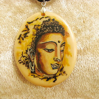 Buddha Pendant 1 - Hand painted Buddha on cold porcelain. Mothers Day Gift