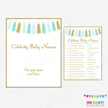 Blue and Gold Baby Shower Games, Celebrity Baby Name Game, Baby Shower Printables, Boy Baby Shower Games, Tassels, Instant Download TASBG