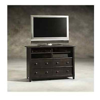 Highboy TV Stand 4 Drawers Storage Shelves Black Wood Furniture Media Stand NEW