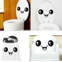 Lovely Smiling Face Toilet Decal DIY Wall Art Home Bathroom Decor Sticker