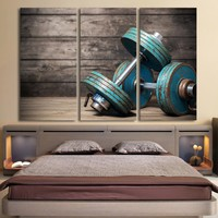 Dumbbells fitness bodybuilding gym inspirational 3 piece Canvas wall art print