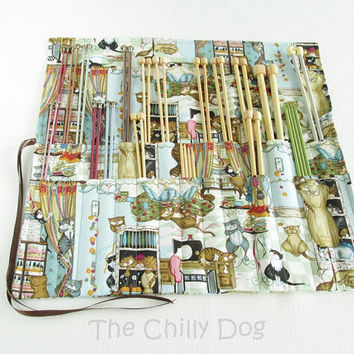 Roll-Up Knitting Needle Case - Funny - Cats in the Sewing Room