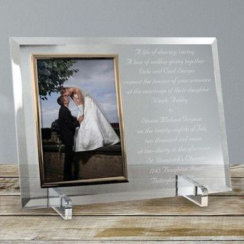 Free Engraving Personalized Wedding Invitation Card on Beveled Glass Picture Frame or Silver Album