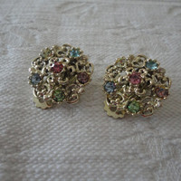 Pastel Multi Rhinestone Round Gold Tone Clip On Earrings
