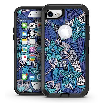 Floral Blues - iPhone 7 or 7 Plus OtterBox Defender Case Skin Decal Kit