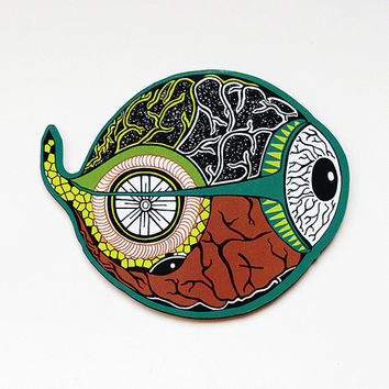 Lsd Art Magnet- Fridge Magnet-psychedelic magnet-Visionary art- Brain Bicycle- Hoffman Bicycle Day-Psychedelic Pin- Home Decor-Art Gift