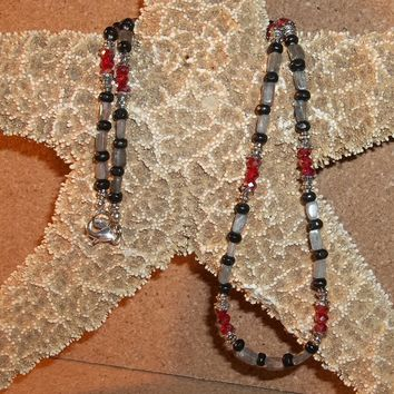 """Mother of Pearl, Black Wooden & Red Swarovski Crystal 22"""" Beaded Necklace"""