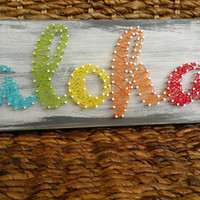 ALOHA String Art Home Decor Wooden Sign, Rainbow Hawaiian Themed Art, Distressed Wood Plaque, Custom Order