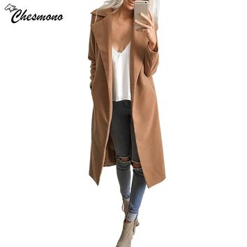 chesmono Winter Coat Women Warm Cotton-padded Wool Coat Long Women's Cashmere Coat European casual Fashion autumn Jacket Outwear