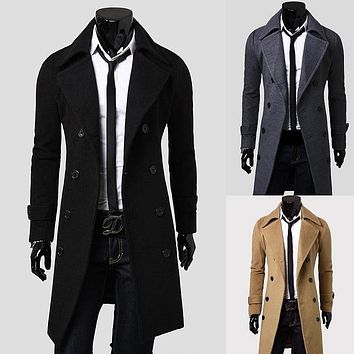 2016 New double lines buttons lengthened briefness and luxury men's wool coat