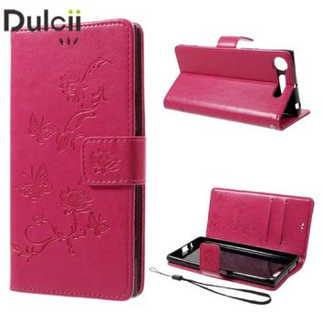 DULCII Bag for Sony Xperia XZ1 Dual F8342 Smartphone Case Imprint Butterfly Flower Wallet PU Leather Cover Mobile Phone Shell