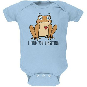 DCCKJY1 Toad I Find You Riveting Funny Pun Valentine's Day Soft Baby One Piece