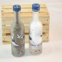 Salt & Pepper Shakers Upcycled from Grey Goose Vodka Glass Mini Liquir Bottles