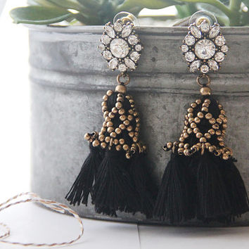 Vintage Gold Beaded Rope Tassel Earrings,Crystal Earrings,romantic statement earrings