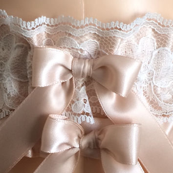 Blush with Ivory Lace Wedding Garter Set, Prom Garter Set