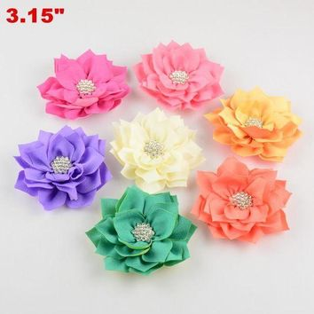 ESB1ON 2016 Newest DIY Hair Accessories Multilayer Angle Rhinestone Headdress Flower Kids Fabric Flower 20pcs/lot Free Shipping TH15