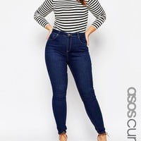 ASOS Curve | ASOS CURVE Lisbon Mid Rise Skinny Jean In Tyne Washed Rich Blue at ASOS