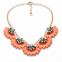 Flower Fan Necklace - Orange