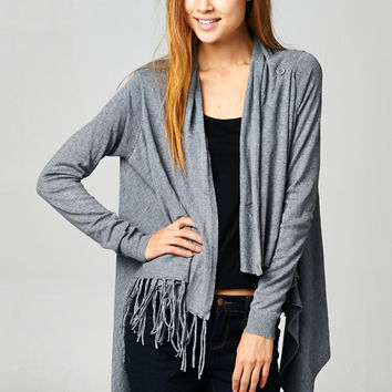 Love Stitch Carys Fringed Shawl Sweater with Button in Heathered Ash IMP5797-HTRASH