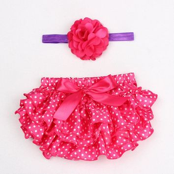 Satin Floral Silk Bow Girl Tutu Ruffled Panties Infant Shorts diaper covers bloomers with Matching Headband Set bebe PP Shorts