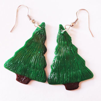 EARRINGS  CHRISTMAS TREES by FrozenNote on Etsy