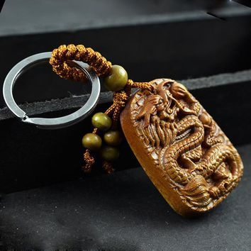 Rosewood Carving Dragon Keychain