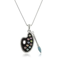 Artist Paint Palette & Paint Brush Pendant with a 16 Inch Snake Necklace (Black/Multi)