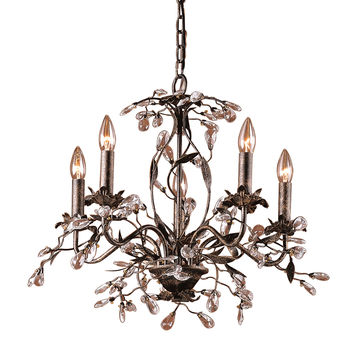 ELK 5 Light Chandelier In Deep Rust And Crystal Droplets - 8053/5