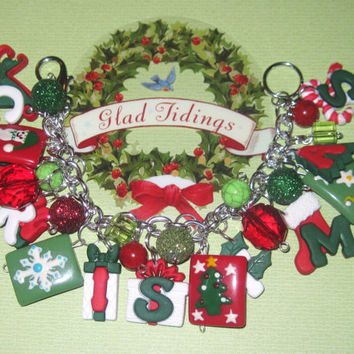 Christmas Charm Bracelet Christmas Jewelry Festive Holiday Accessory Red Green White OOAK Unique Chunky Fun Statement Piece Adult Teen Tween