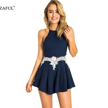 New Women Lace Floral Playsuit Skirt Shorts Sexy Jumpsuit feminino Summer Style vestido Romper bodysuit