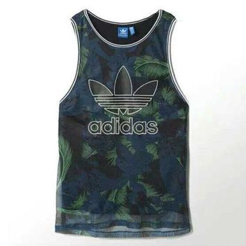 DCCK6HW Adidas' Women Sports Casual Multicolor Feather Flower Print Sleeveless Vest T-shirt Tops