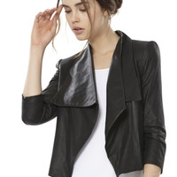 COLTON DRAPE LEATHER JACKET | Alice + Olivia