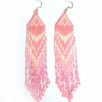 Native American Earrings Inspired. White and Pink Earrings. Dangle Long Earrings. Beadwork