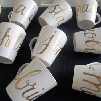 gold rim white mug with custom name . personalized coffee mugs & tea cups . bridesmaid gift . wedding calligraphy . holiday gift