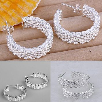 New Women Fashion Jewelry 925 Sterling Silver Plated Small Stud Hoop Earrings