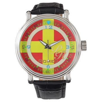Nautical Flag Romeo Letter R Vintage Classic Style Wristwatch