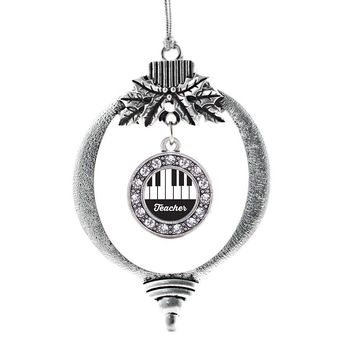 Piano Teacher Circle Charm Holiday Ornament