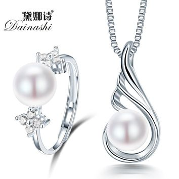 Dainashi 2015 New Fashion 925 sterling silver necklace rings for women natural pearl jewelry bridal jewelry sets wedding rings
