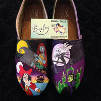 Disney Villains **Toe Only** Hand Painted Toms Ursula Captain Hook Evil Queen Hades